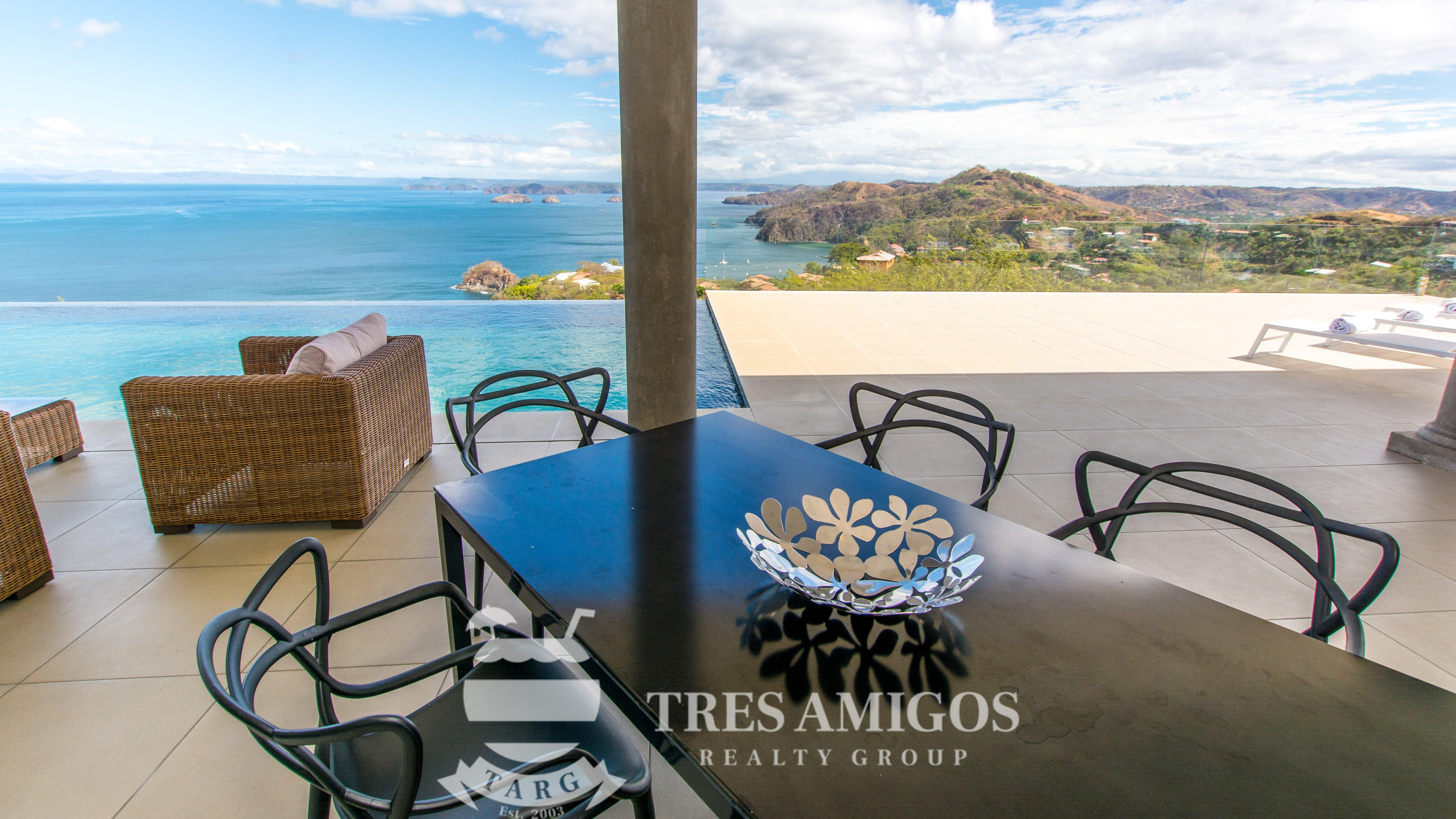Ocean views from the terrace of the Aguila del Mar luxury Villa in Costa Rica