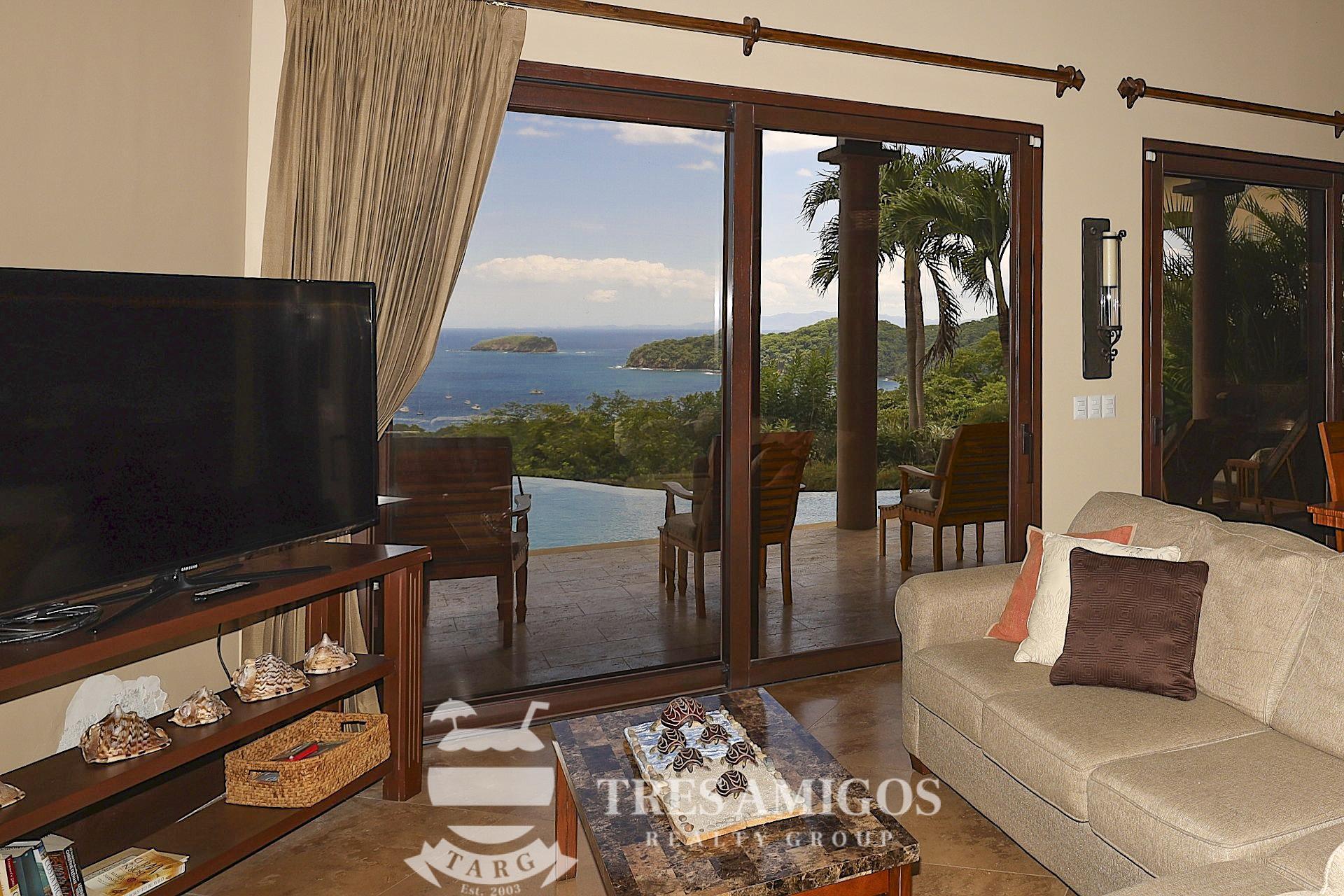 Ocean views from the living area of Villa La Cima in Pacifico in Costa Rica
